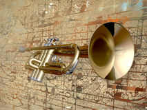 Trumpet. On a musical background Royalty Free Stock Photography