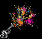 Trumpet. With colorful abstract decoration vector illustration