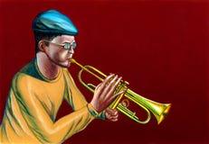 trumpet игрока джаза иллюстрация вектора