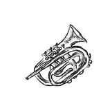 Trumpet. Series of musical instruments trumpet Stock Photos