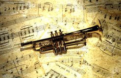 Trumpet. Photo of a Trumpet on Sheetmusic Stock Photography