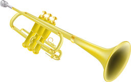 Trumpet. Instruments isolated jazz melody Stock Images