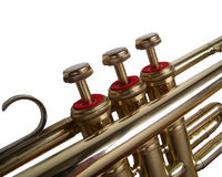 Trumpet. Valves of a jazz-trompete, brass, isolated royalty free stock photo