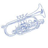 Trumpet. Vector sketch of a trumpet in blue ink royalty free illustration