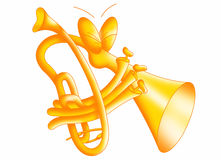 Trumpet. Color illustration of a cute trumpet Stock Image