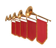 Trumpet. Trumpets with a red banners isolated on white Stock Images