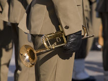 Trumpet. In the hand of a soldier stock photography
