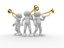 Trumpet. 3d people - human character , person with a trumpet.rn 3d render royalty free illustration