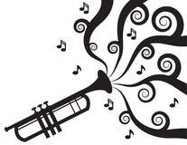 Trumpet играя силуэт нот Стоковые Изображения