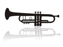 Trumpet. Illustration of trumpet with shadow Stock Images