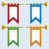 Trumpet (). Illustration of a trumpet with flag in various colors stock illustration