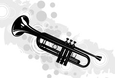 Trumpet. Musical instrument the trumpet with decorative elements Stock Photography