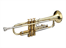 Trumpet. Wind instrument. On a whithe background stock image