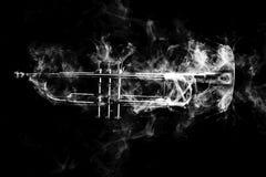 Trumpet Abstract Jazz Smoke. Abstract smoke billows around jazz brass trumpet Royalty Free Stock Image