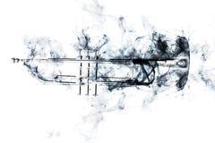 Trumpet Abstract Jazz Smoke. Abstract smoke billows around jazz brass trumpet Stock Photos