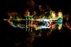 Trumpet Abstract Jazz Smoke Stock Photo