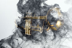 Trumpet abstrakta Jazz Smoke Royaltyfria Bilder