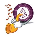 With trumpet Augur coin mascot cartoon. Vector illustration Stock Photo