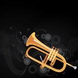 Trumpet background. Illustration of a golden trumpet on black background royalty free illustration