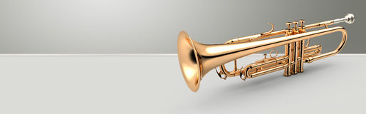 Trumpet banner, 3D illustration Stock Image
