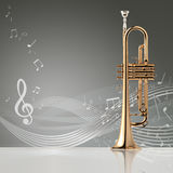 Trumpet banner, 3D illustration Royalty Free Stock Photos
