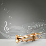Trumpet banner, 3D illustration Royalty Free Stock Images
