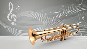 Trumpet banner, 3D illustration Royalty Free Stock Photography