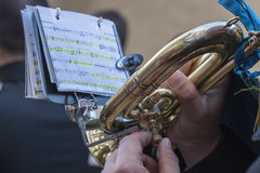 Trumpet being played in an event Royalty Free Stock Photos