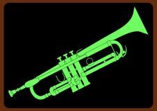 Trumpet on Black Background Stock Photos