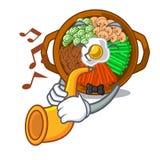 With trumpet bowl of bibimbap in cartoon shape. Vector illustration royalty free illustration