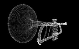 Trumpet. Brass trumpet on background. body structure, wire model royalty free illustration