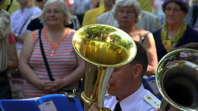 The trumpet in a brass band. 4K. stock footage