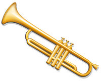 Trumpet. Brass wind musical instrument. Vector illustration of brass trumpet. Musical instrument Royalty Free Stock Images