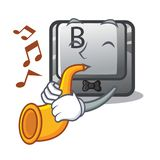 With trumpet button B on a mascot keyboard. Vector illustration vector illustration