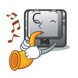 With trumpet button C isolated in the cartoon. Vector illustration vector illustration
