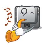 With trumpet button O in the cartoon shape. Vector illustration vector illustration