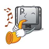 With trumpet button P isolated with the character. Vector illustration royalty free illustration