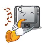 With trumpet button Q in the character shape. Vector illustration stock illustration