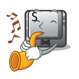 With trumpet button S on a computer cartoon. Vector illustration stock illustration