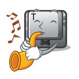 With trumpet button T in the keyboard cartoon. Vector illustration royalty free illustration