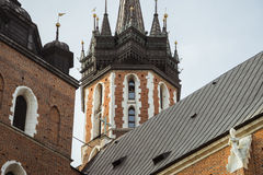 Trumpet Call at the church tower in Krakow Stock Photos