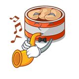 With trumpet canned tuna in the cartoon shape. Vector illustration vector illustration