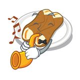 With trumpet cannoli isolated with in the character. Vector illustration royalty free illustration