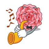 With trumpet carnations flower isolated with the cartoon. Vector illustration stock illustration
