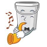 With trumpet cartoon plastic tube bucket bedside table. Vector illustration stock illustration