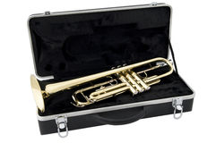 Trumpet and case Stock Photography