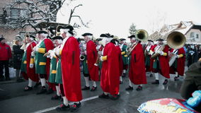 Trumpet choir dressed in eighteenth century costumes stock video