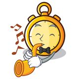With trumpet chronometer character cartoon style Stock Photo