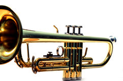 Trumpet close. Close  of a shiny trumpet on white Stock Image