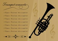 Trumpet concerts program template with black trumpet silhouette, sample text, calligraphic ornament and treble clef on. Gold background with abstract curves royalty free illustration